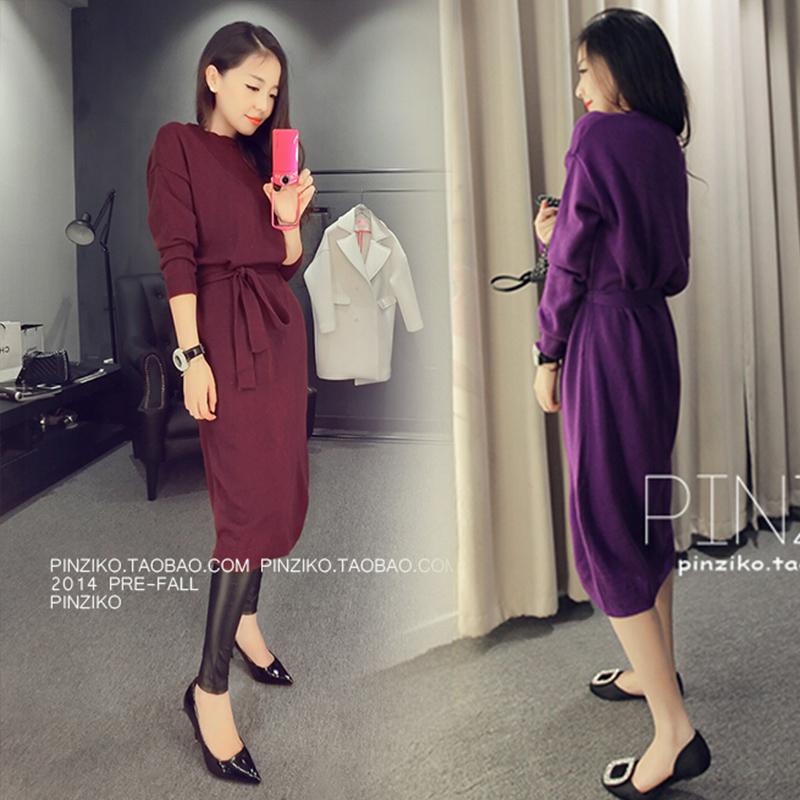 2015秋装新款韩版纯色绑带开叉长袖针织衫圆领套头连衣裙中长款