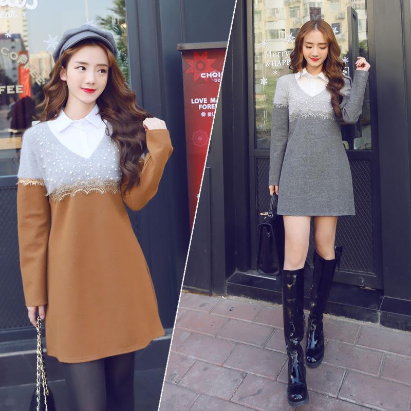 2015春季韩版新款长袖POLO领纯色假两件连衣裙短裙 A字裙