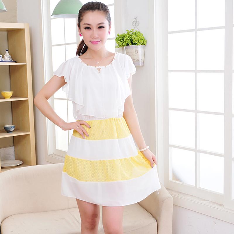 欧雅姬2014夏装新款短袖 女雪纺连衣裙夏显瘦荷叶袖
