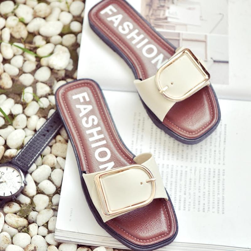 室內洗澡海邊女夏外穿沙灘鞋厚底方扣軟底韓版潮學生防滑拖鞋