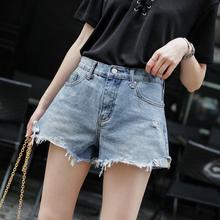 【天天特价】水洗毛边破洞宽松A字牛仔短裤女夏季显瘦阔腿裤热裤