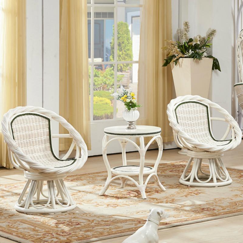 欧式白色藤椅三件套特价休闲椅阳台桌椅套件组合小茶几旋转藤椅子
