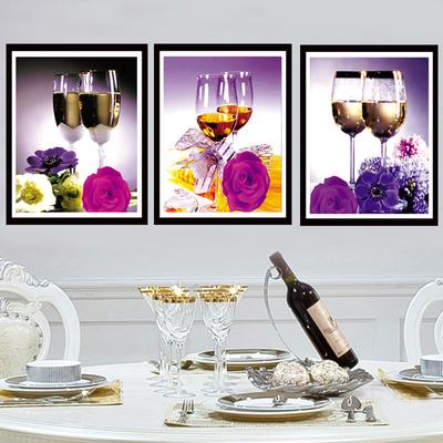 钻石画客厅欧式花卉三联画十字绣餐厅系列玫瑰酒杯