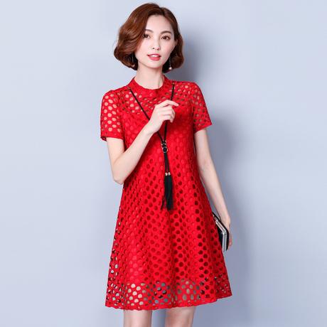 2018夏装新款韩版大码女装镂空洞洞蕾丝连衣裙宽松胖mmA字裙减龄商品大图