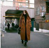 韩国代购 小众 复古 大翻领加长款  夹棉加厚  毛呢外套 呢子大衣