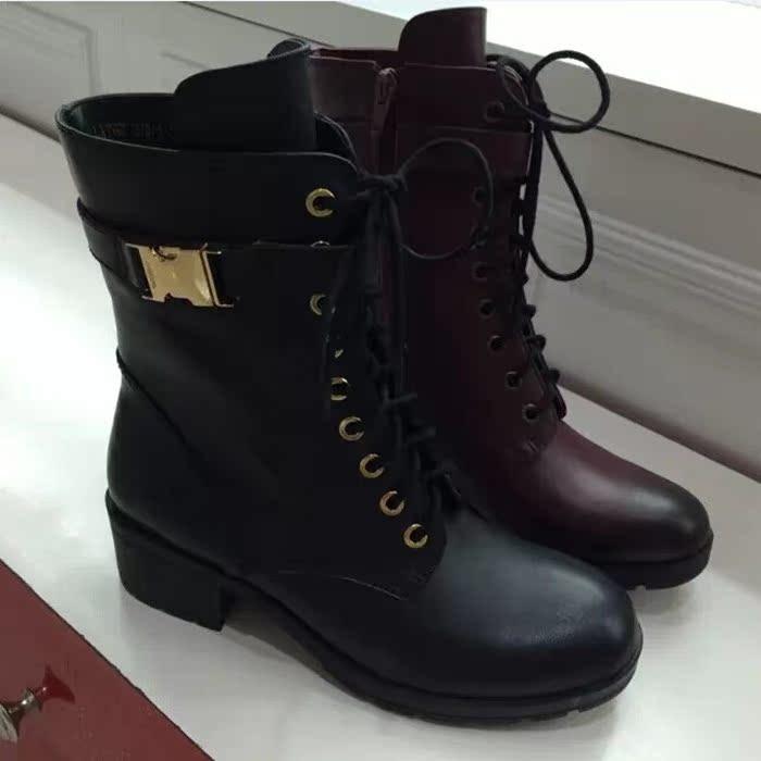 正品代购妙丽2014秋冬新款短靴中跟圆头软底舒适真皮女靴子LXT62