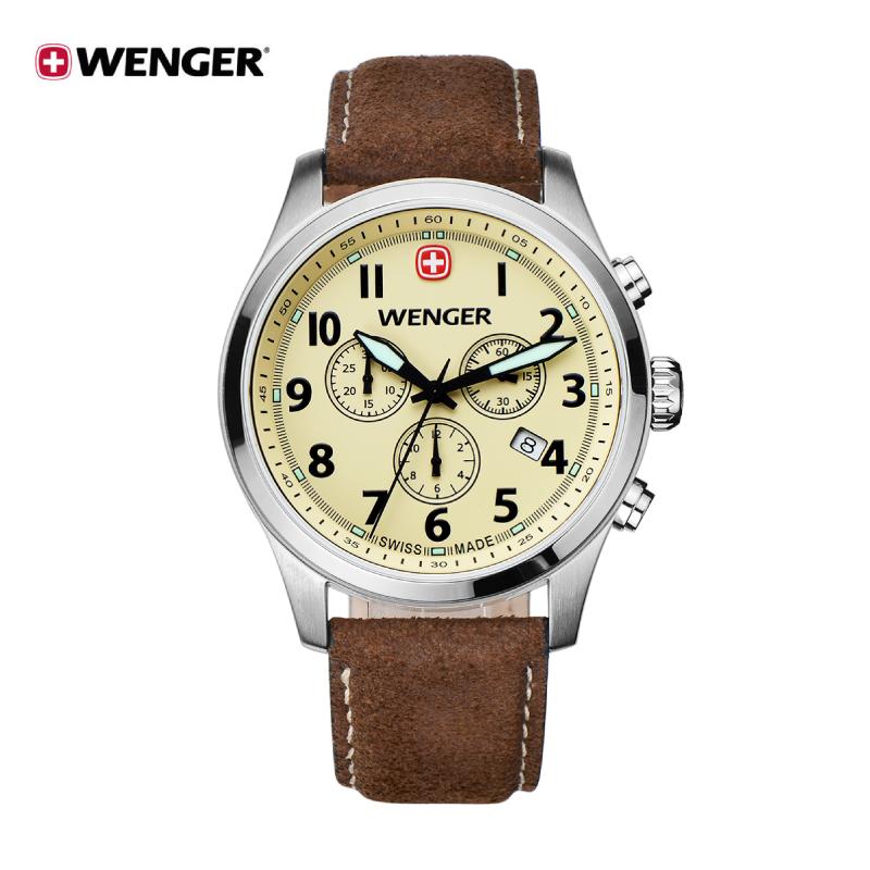 周大福Wenger威戈手表地平线系列瑞士表计时皮带男表 男士手表