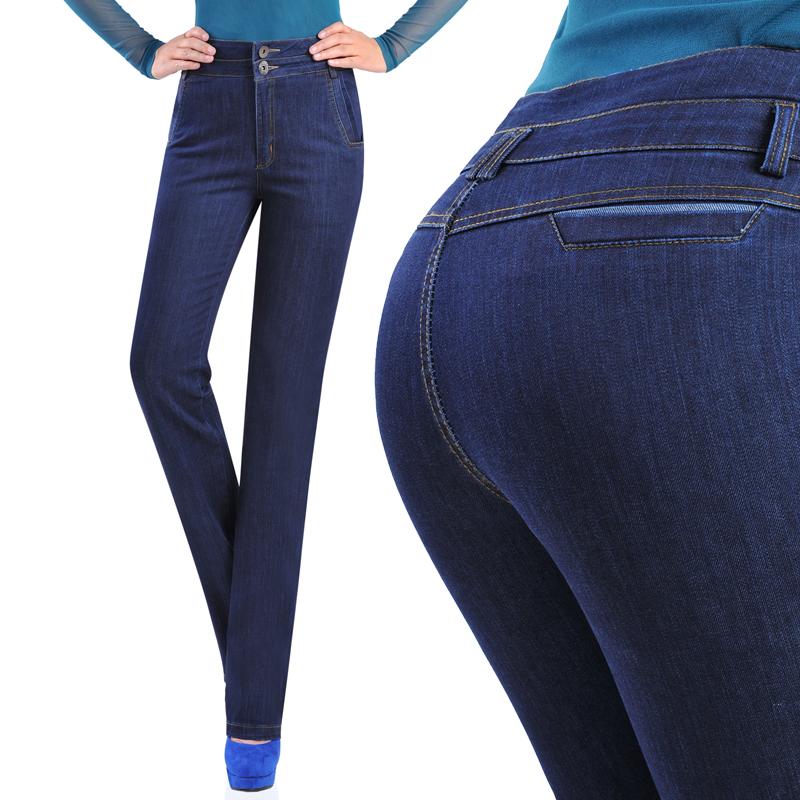 秋新款高腰弹力简约直筒裤女士牛仔裤休闲裤子长裤显瘦气质有大码