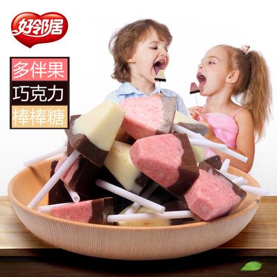 好邻居多伴果棒棒糖巧克力儿童创意喜糖果批发散装1000g约145支