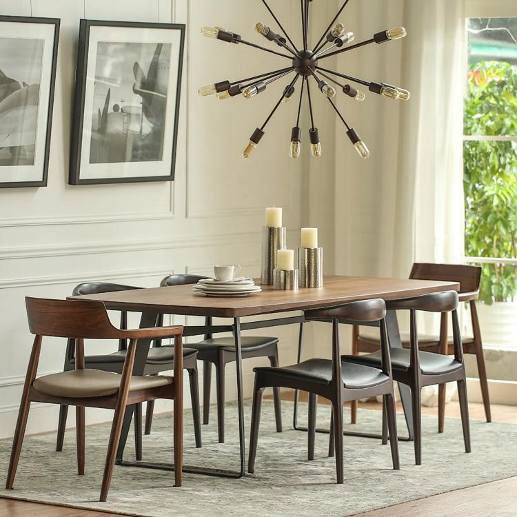 欧式餐桌复古做旧铁艺会议桌实木饭桌电脑桌多功能椅