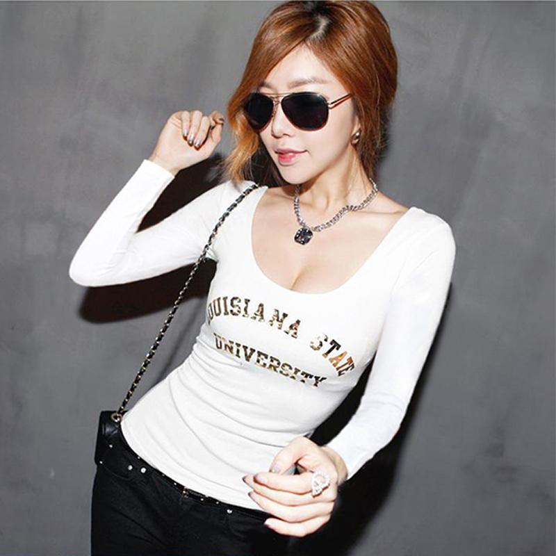 麦珂丽沙2014秋冬新款韩版女装性感U领修身加绒加厚长袖打底衫t恤