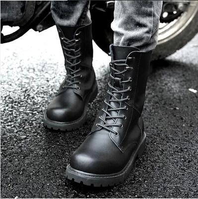 情侣款男女士高帮靴加绒厚底工装靴骑士马丁靴真皮牛皮鞋潮包邮