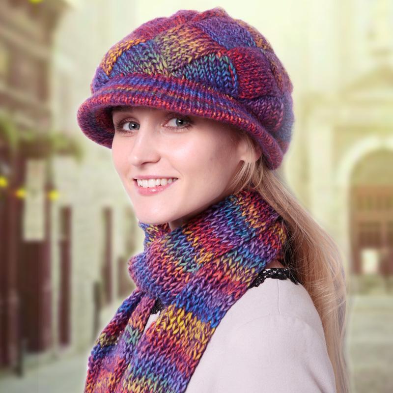 秋冬女士毛线帽子围巾两件套装中老年羊毛毛线帽新款韩版潮针织帽