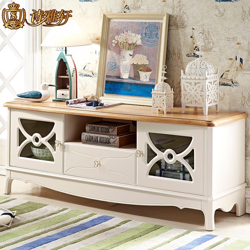 地中海风格电视柜组合 小户型美式实木质影视柜窄地柜矮