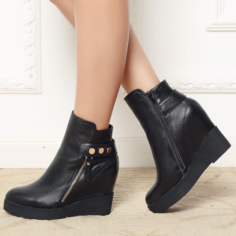 2014欧美单靴新款侧拉链超高跟及裸靴内增高9.5CM短靴黑色女靴