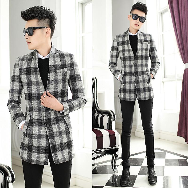 2014冬装新款 修身立领男风衣格子大衣 韩式潮流个性时尚外套