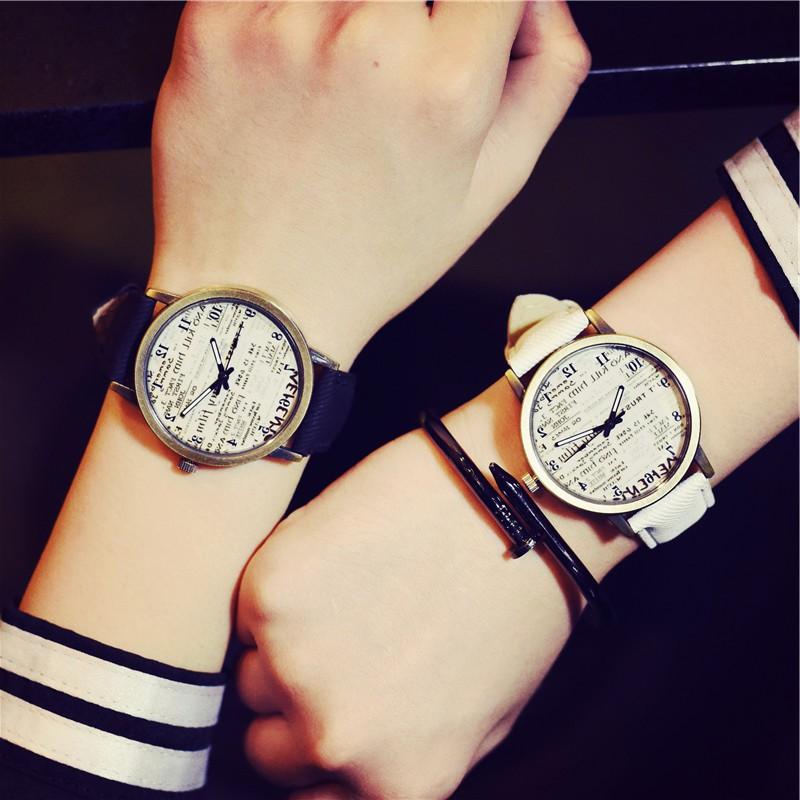 学院李易峰同款韩国复古简约潮男女韩版中学生帆布手表中性英伦学图片