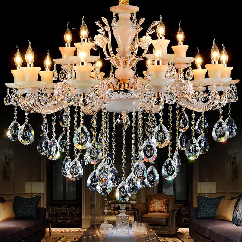 欧式现代简约led水晶吊灯锌合金蜡烛客厅卧室餐厅