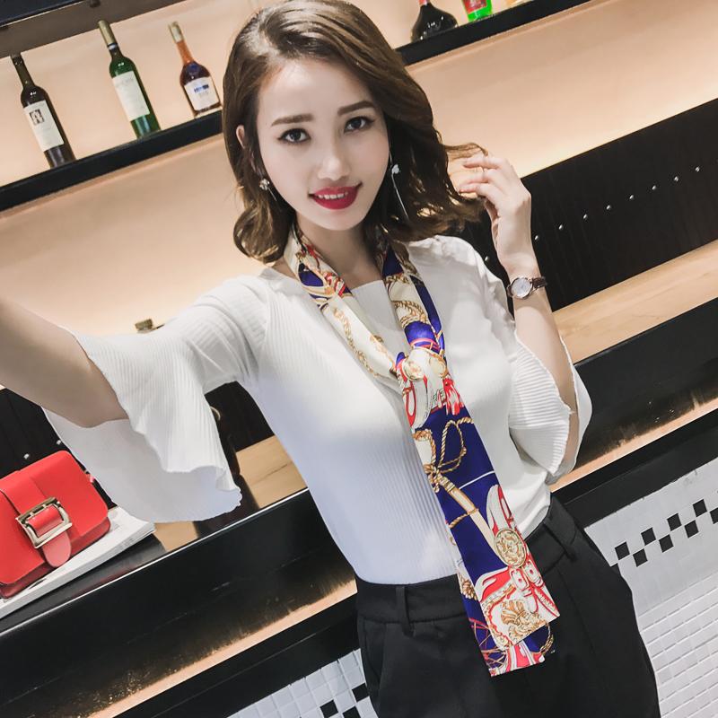 雙面圍巾絲巾領巾窄小韓國文藝長款領結春季