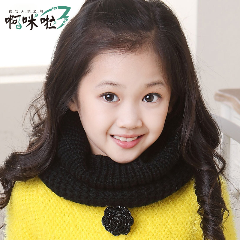 儿童围脖2014秋冬韩版保暖女童围巾 宝宝针织毛线套头