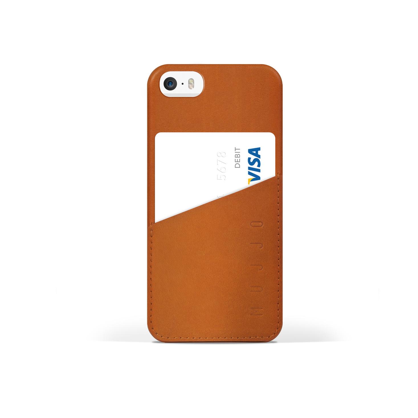 Mujjo iphone 6s/5S 皮质保护套钱包夹 棕褐色