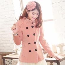 2014秋冬季新品韩版女装双排扣修身毛呢短外套