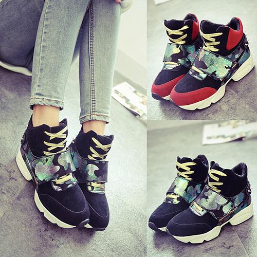 冬季韩版拼色潮女高帮魔术贴迷彩运动鞋学生鞋铆钉潮流时尚内增高
