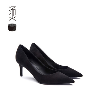 烫社交女鞋OL黑色羊羊反绒斜口尖头细高跟鞋中跟女单鞋秋款