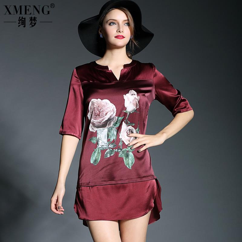 2015春装新款欧美大牌V领印花中袖连衣裙衬衫裙高档真丝连衣裙