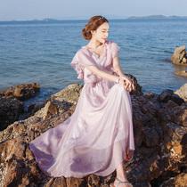 2017夏波西米亚长裙沙滩裙超仙韩国泰国海边度假显瘦雪纺连衣裙女