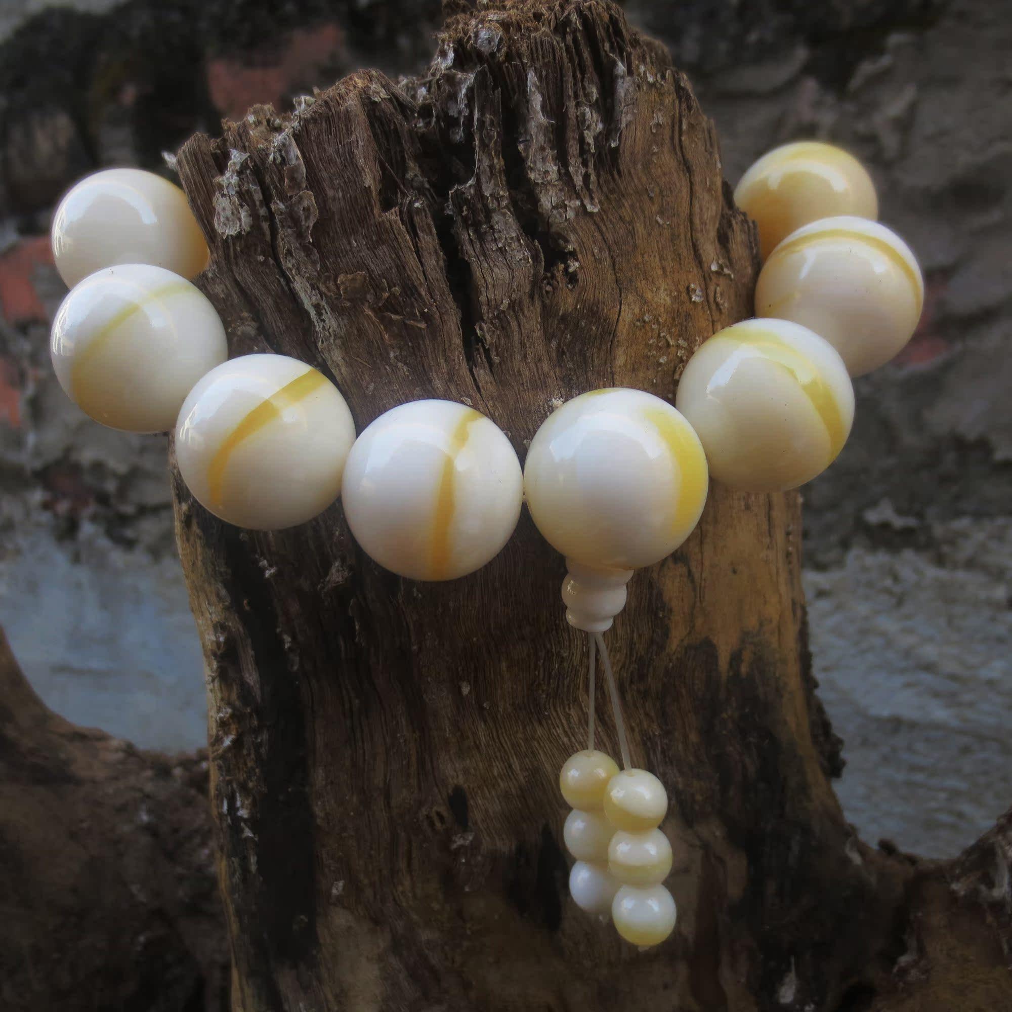 黄岩岛7A极品纯天然黄金砗磲手链金丝砗磲佛珠手串时尚配饰品