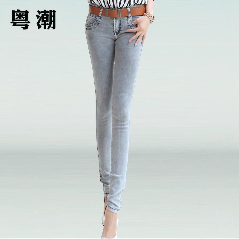 2014秋装新款韩版灰蓝色女士牛仔裤弹力显瘦铅笔裤修身小脚裤女潮