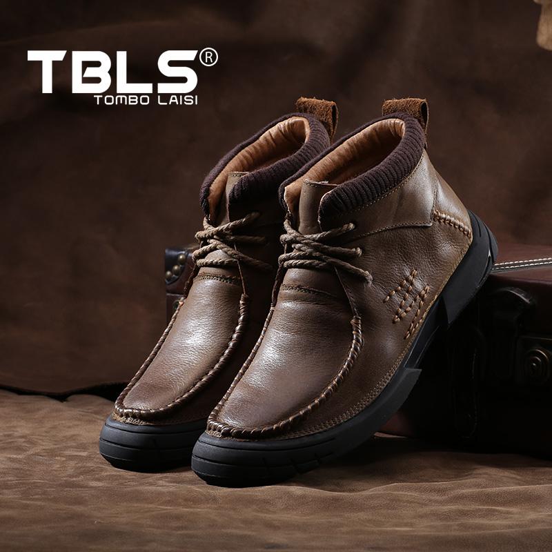 汤铂莱斯手工男靴冬季加绒系带马丁靴 英伦男鞋耐磨真皮工装靴子