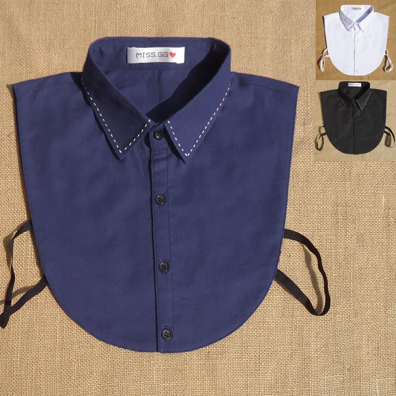 假领服装搭配配饰男黑白蓝撞色手工复古尖领子韩版 子衬衫普