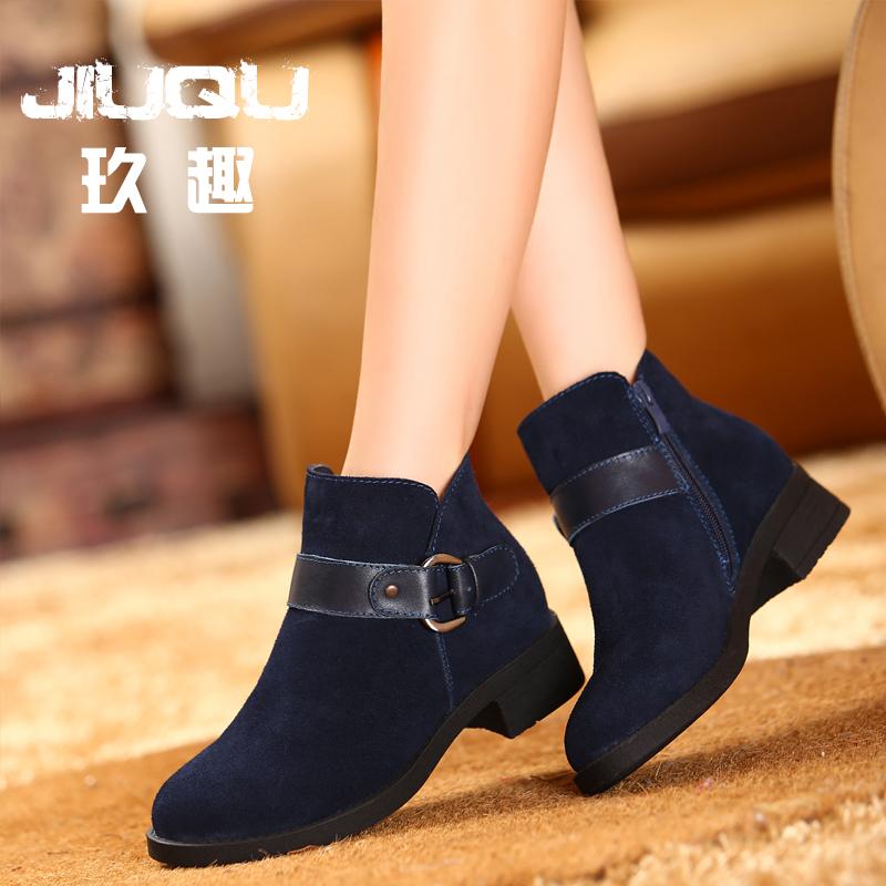短靴女春秋2014新款真皮平跟磨砂皮中跟裸靴短靴及踝靴马丁靴女鞋