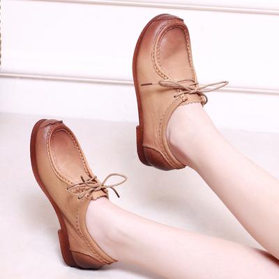 [新年价] 2016春款 民族风复古平底女士真皮单鞋 英伦单鞋休闲 大码女鞋