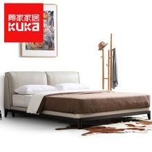 顾家家居真皮床1.8米双人实木现代简约卧室家具北欧皮艺床115图片