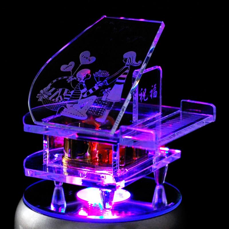 音乐盒生日礼物水晶钢琴情人节礼物男送女友女生diy定制创意礼品