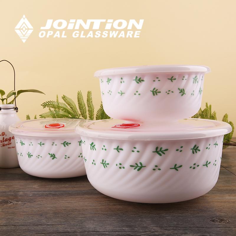健诚 保鲜面碗套装 3头 玉晶玻璃瓷 碗盘套装餐具 特价
