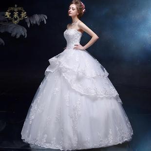 码欧式复古宫廷蛋糕裙白色新娘结婚女士大码婚纱礼服