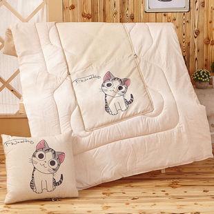 九洲鹿家纺 多功能抱枕被两用靠垫-萌萌猫 110x150cm午睡被子夏