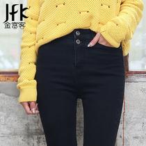 2015秋季高腰黑色加绒牛仔裤女韩版大码弹力小脚铅笔修身显瘦长裤