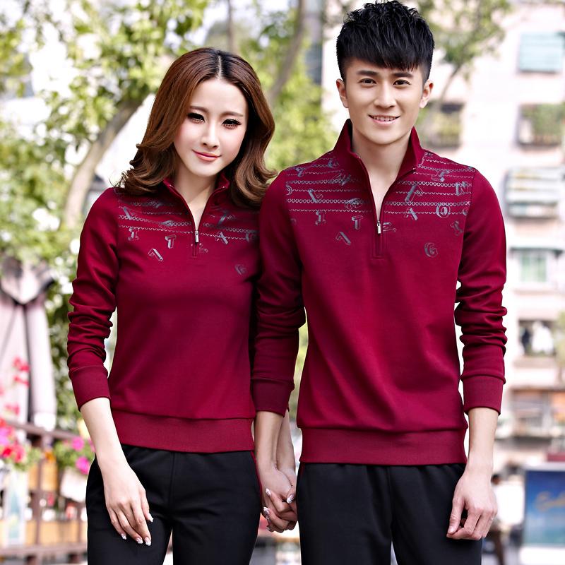 情侣休闲运动服套装春秋款 韩版修身女士运动装男款大码运动套装