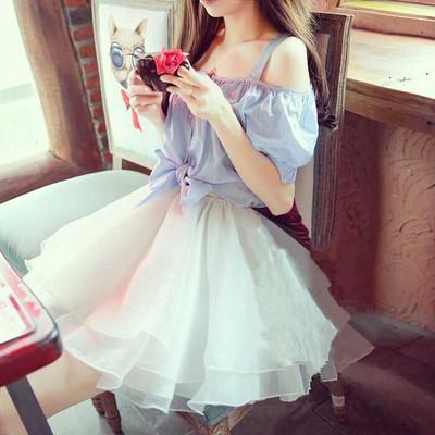 [年终大促] 韩国吊带一字领露肩连衣裙女装公主夏蓬蓬纱裙假两件套漏肩短裙子