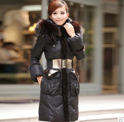 正牧斯 2013冬装女新款水貂毛正品 长款修身羽绒服女特价