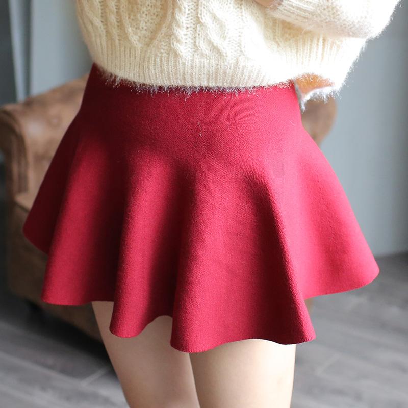 2014秋冬装新款超短裙针织蓬蓬裙A字裙高腰女半身裙针织毛线短裙
