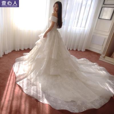 婚纱2015新款冬韩版欧式宫廷复古蓬蓬裙一字肩领蕾丝