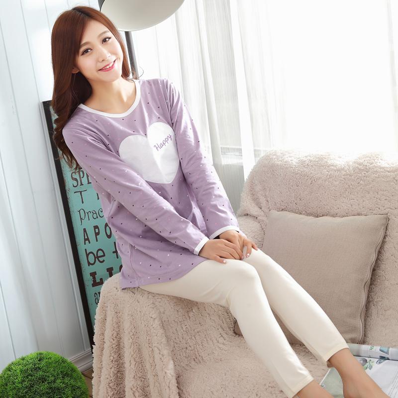 2015新款春季韩版家居服女士睡衣纯棉休闲大码全棉质家居服套装