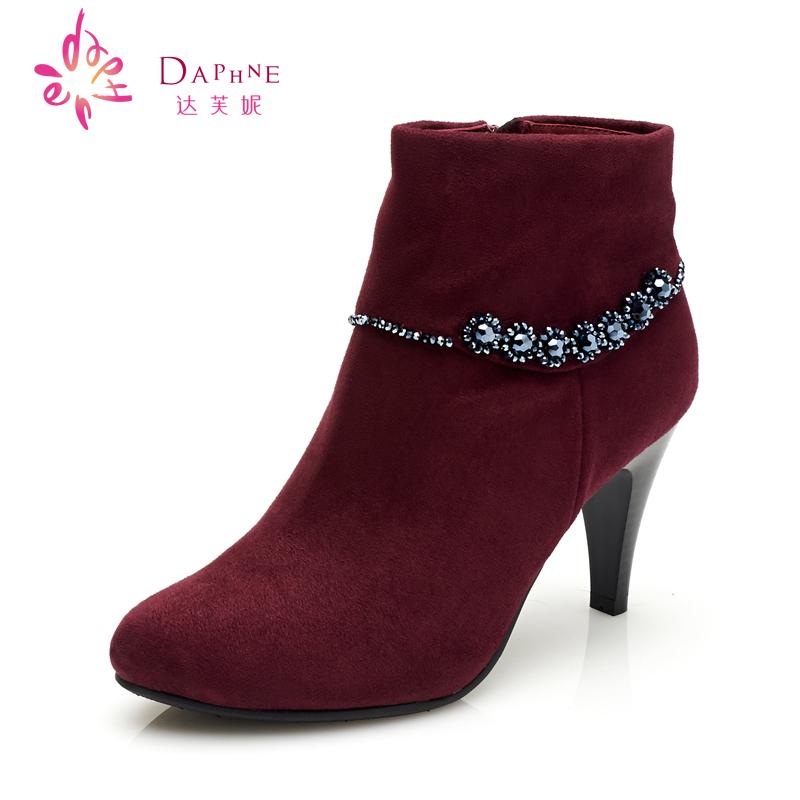 Daphne达芙妮细跟高跟鞋 水钻花形磨砂圆头单靴 新款时装休闲短靴