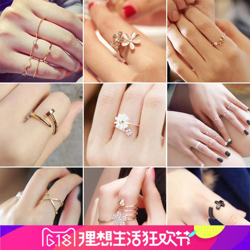 日韩国纯银戒指韩版小饰品时尚潮人学生情侣男女尾戒关节个性指环